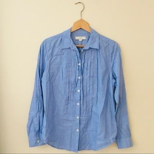 LOFT Pleated Long Sleeve Button Down Chambray Top